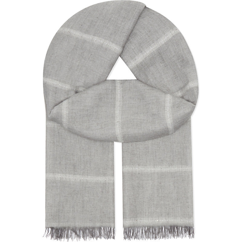 Sequin Stripe Scarf, Women's, Pale Grey - predominant colour: mid grey; secondary colour: light grey; occasions: casual; type of pattern: standard; style: regular; size: standard; material: fabric; embellishment: fringing; pattern: striped; season: a/w 2016; wardrobe: highlight