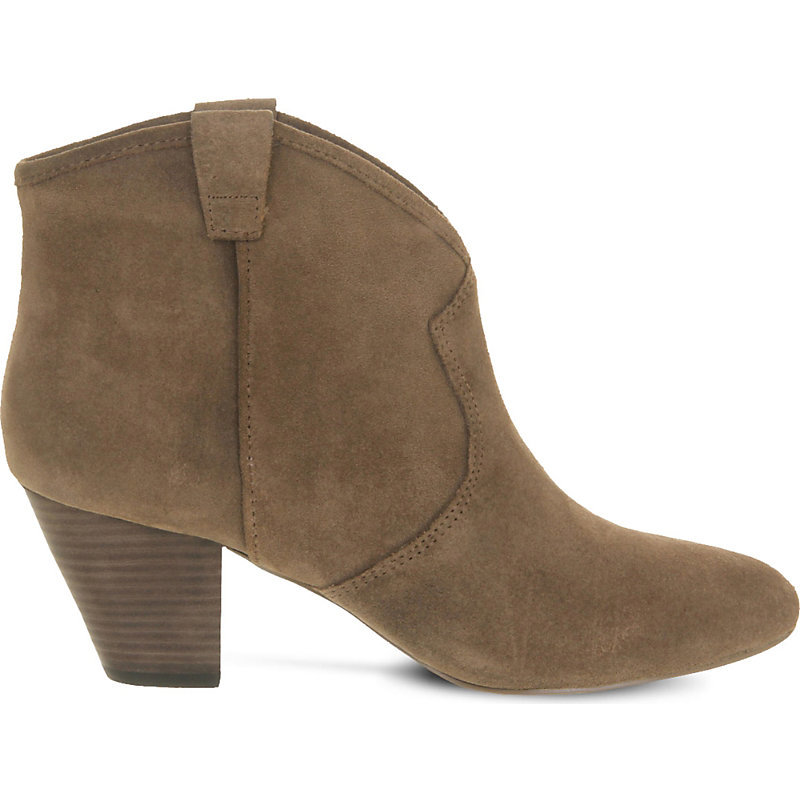 Jalouse Suede Heeled Ankle Boots, Women's, Topo Suede - predominant colour: tan; occasions: casual, creative work; material: suede; heel height: mid; heel: block; toe: round toe; boot length: ankle boot; style: cowboy; finish: plain; pattern: plain; season: a/w 2016; wardrobe: highlight