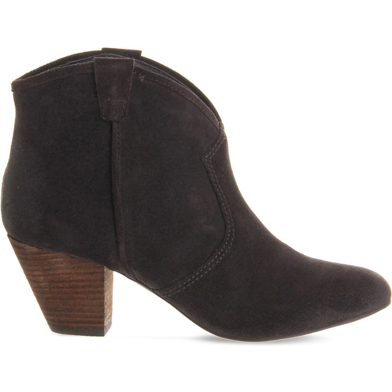 Jalouse Suede Heeled Ankle Boots, Women's, Wood Suede - predominant colour: chocolate brown; occasions: casual, creative work; material: suede; heel height: mid; heel: block; toe: round toe; boot length: ankle boot; style: cowboy; finish: plain; pattern: plain; wardrobe: basic; season: a/w 2016