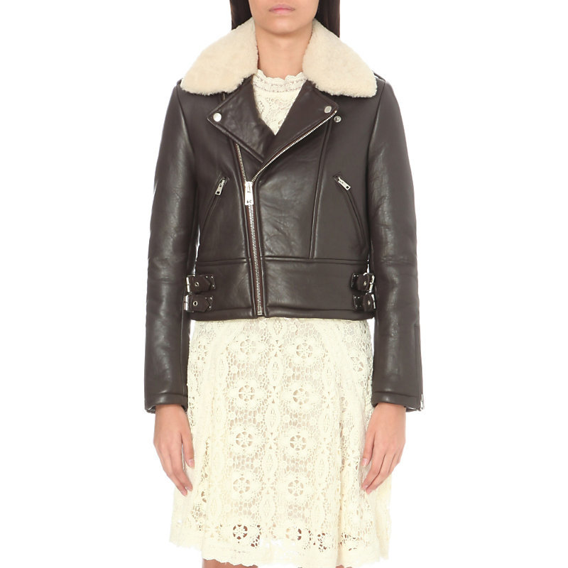 Basou Shearling And Leather Jacket, Women's, Marron - pattern: plain; style: biker; collar: asymmetric biker; fit: slim fit; secondary colour: ivory/cream; predominant colour: black; occasions: casual; length: standard; fibres: leather - 100%; sleeve length: long sleeve; sleeve style: standard; texture group: leather; collar break: medium; pattern type: fabric; multicoloured: multicoloured; season: a/w 2016