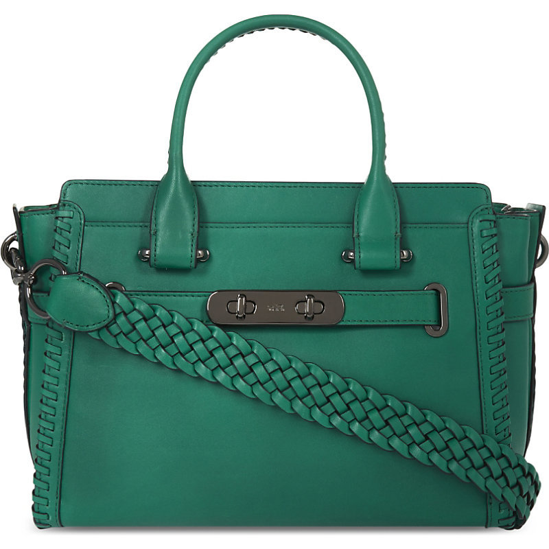 Swagger 27 Leather Tote, Women's, Dk/Black/Tan - predominant colour: emerald green; occasions: casual, creative work; type of pattern: standard; style: tote; length: handle; size: oversized; material: leather; pattern: plain; finish: plain; season: a/w 2016; wardrobe: highlight