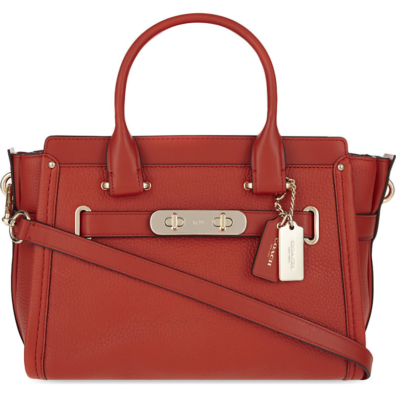 Swagger Leather Tote, Women's, Li/Carmine - predominant colour: terracotta; secondary colour: gold; occasions: work, creative work; type of pattern: standard; style: tote; length: handle; size: standard; material: leather; pattern: plain; finish: plain; season: s/s 2016; wardrobe: highlight