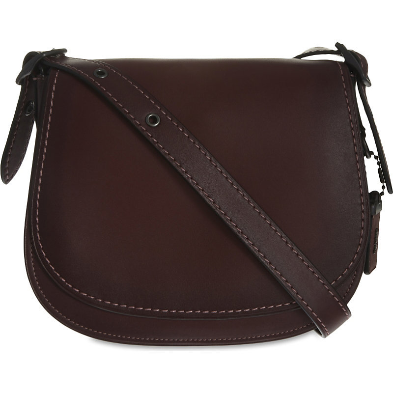 Glovetanned Leather Saddle Bag 23, Women's, Bp/Red - predominant colour: chocolate brown; occasions: casual, creative work; type of pattern: standard; style: saddle; length: across body/long; size: standard; material: leather; pattern: plain; finish: plain; season: s/s 2016; wardrobe: basic