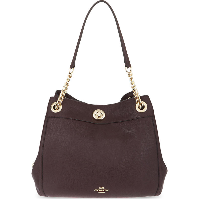 Edie Leather Shopper, Women's, Li/Maroon - predominant colour: aubergine; secondary colour: gold; occasions: casual, creative work; type of pattern: standard; style: tote; length: handle; size: oversized; material: leather; pattern: plain; finish: plain; season: a/w 2016; wardrobe: highlight