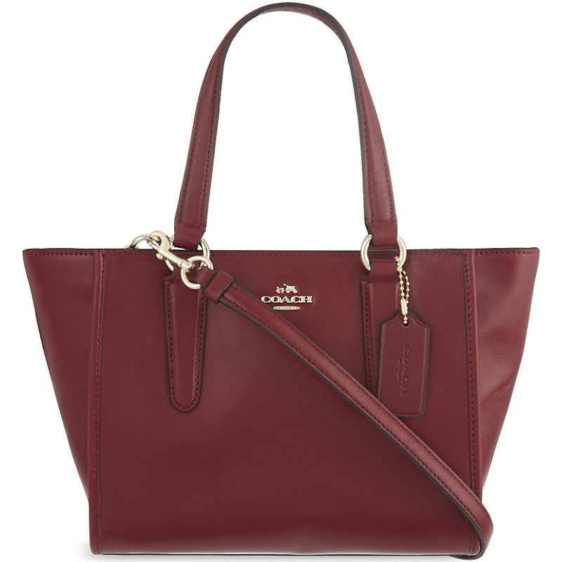 Mini Crosby Leather Tote, Women's, Li/Black Cherry - predominant colour: burgundy; occasions: casual, work, creative work; type of pattern: standard; style: tote; length: shoulder (tucks under arm); size: standard; material: leather; pattern: plain; finish: plain; season: a/w 2015; wardrobe: highlight