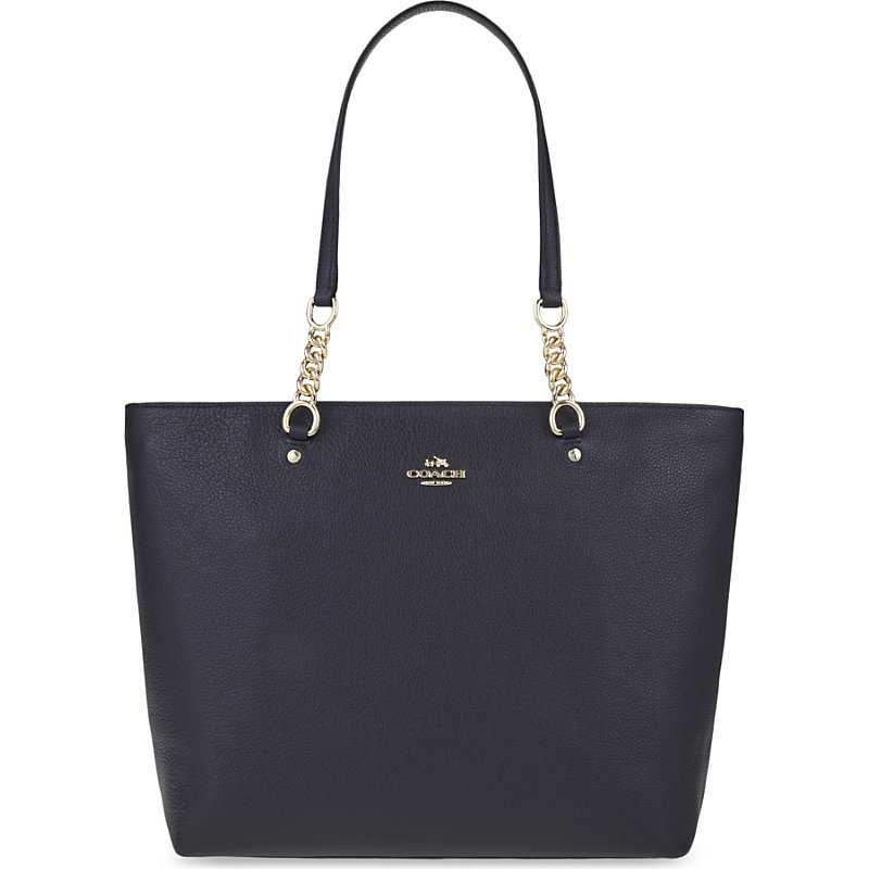 Sophia Leather Tote, Women's, Li/Blue - predominant colour: navy; occasions: casual, creative work; type of pattern: standard; style: tote; length: shoulder (tucks under arm); size: standard; material: leather; pattern: plain; finish: plain; embellishment: chain/metal; season: s/s 2016; wardrobe: investment