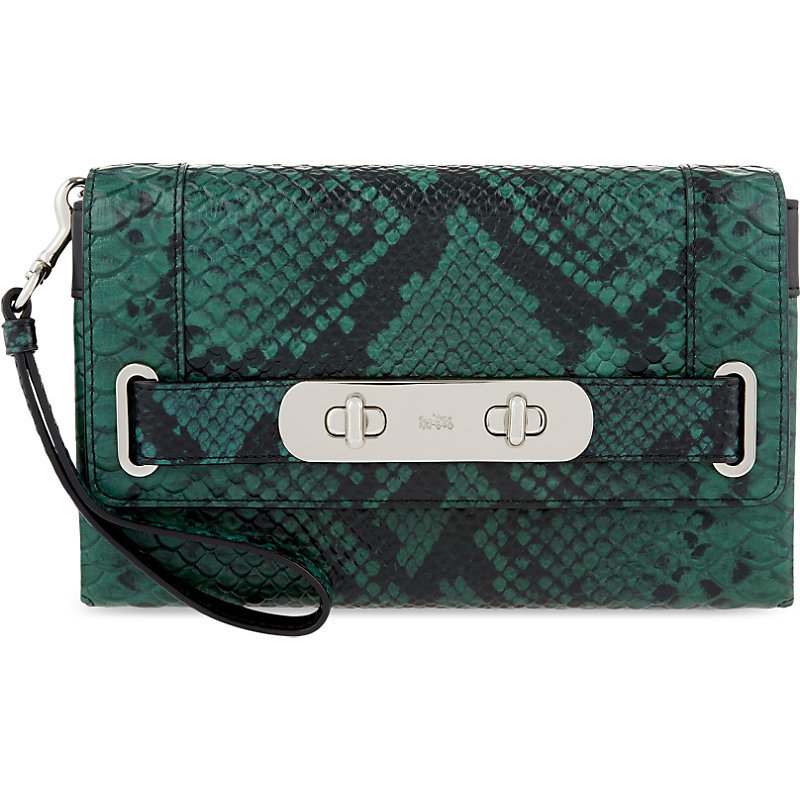 Swagger Lizard Embossed Leather Clutch, Women's, Sv/Black/Tan - predominant colour: teal; secondary colour: black; occasions: evening, occasion; type of pattern: standard; style: clutch; length: hand carry; size: standard; material: leather; pattern: animal print; finish: plain; season: s/s 2016; wardrobe: event; trends: opulent prints