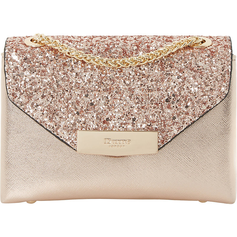 Serenity Sequinned Micro Bag, Women's, Rose Gold Synthetic - predominant colour: gold; occasions: evening, occasion; type of pattern: standard; style: clutch; length: across body/long; size: standard; material: faux leather; embellishment: glitter; pattern: plain; finish: metallic; season: a/w 2016; wardrobe: event
