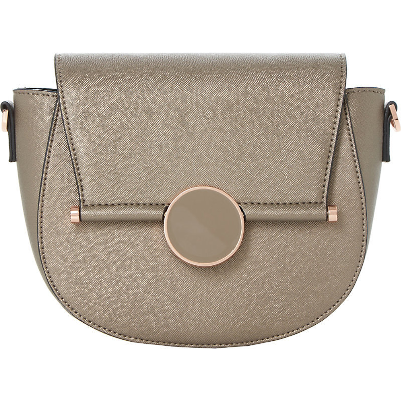 Ebonnie Locked Saddle Bag, Women's, Grey Plain Synthetic - predominant colour: light grey; occasions: casual, work, creative work; type of pattern: standard; style: saddle; length: across body/long; size: standard; material: faux leather; pattern: plain; finish: plain; wardrobe: basic; season: a/w 2016