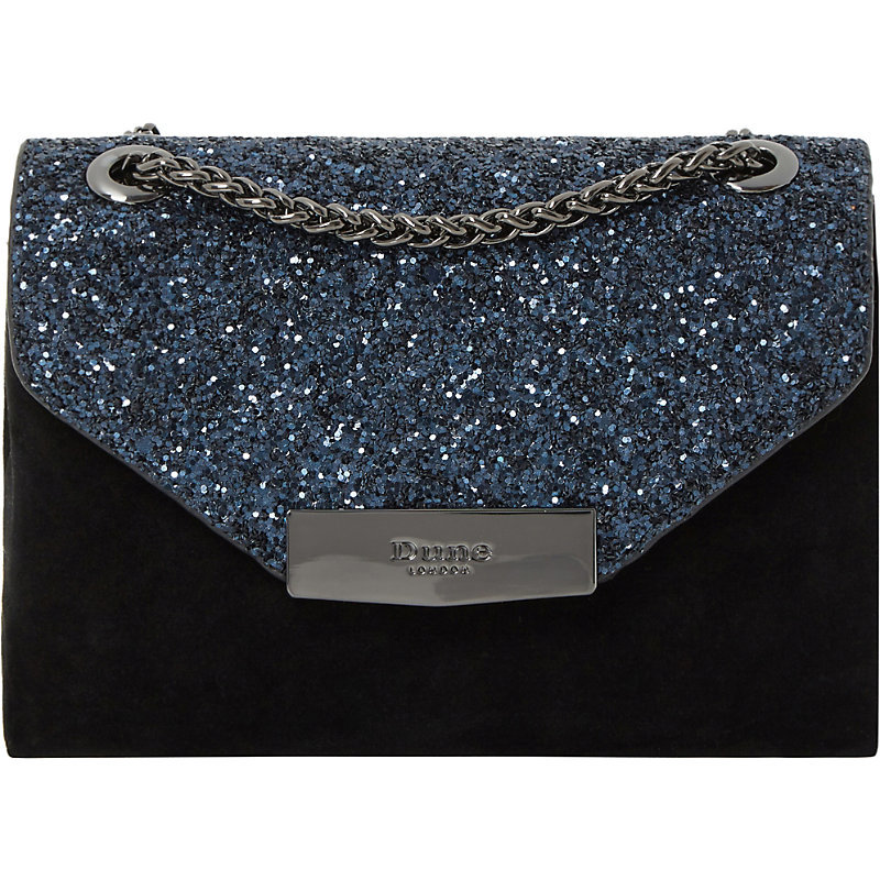 Serenity Sequinned Micro Bag, Women's, Black Glitter - secondary colour: royal blue; predominant colour: black; occasions: evening, occasion; type of pattern: standard; style: clutch; length: hand carry; size: standard; material: faux leather; embellishment: glitter; pattern: plain; finish: metallic; season: a/w 2016; wardrobe: event