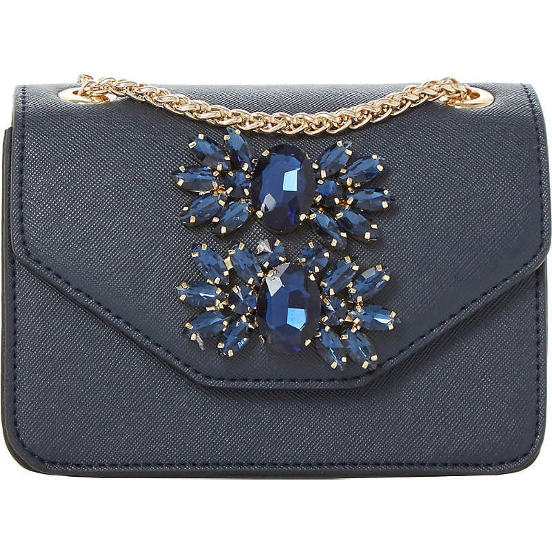 Samia Micro Jewelled Shoulder Bag, Women's, Navy Plain Synthetic - predominant colour: navy; occasions: casual, creative work; type of pattern: standard; style: shoulder; length: shoulder (tucks under arm); size: standard; material: faux leather; pattern: plain; finish: plain; embellishment: jewels/stone; wardrobe: investment; season: a/w 2016