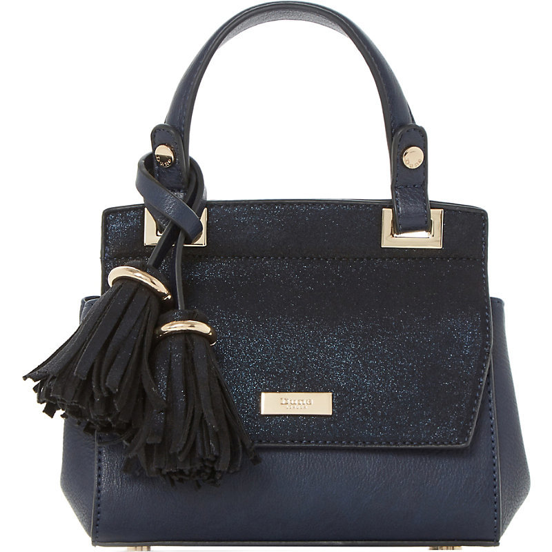 Sunnie Textured Micro Bag, Women's, Navy Synthetic - predominant colour: navy; occasions: casual, creative work; type of pattern: standard; style: tote; length: handle; size: small; material: faux leather; embellishment: tassels; pattern: plain; finish: plain; wardrobe: investment; season: a/w 2016