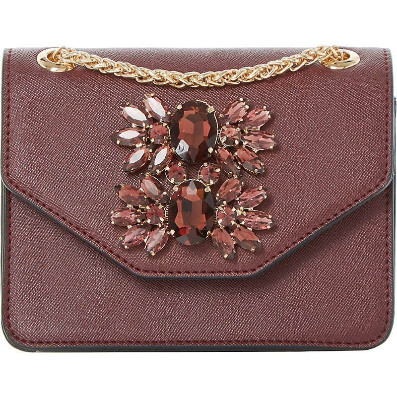 Samia Micro Jewelled Shoulder Bag, Women's, Maroon - occasions: casual, creative work; type of pattern: standard; style: shoulder; length: shoulder (tucks under arm); size: standard; material: faux leather; pattern: plain; finish: plain; embellishment: jewels/stone; predominant colour: dusky pink; season: a/w 2016; wardrobe: highlight