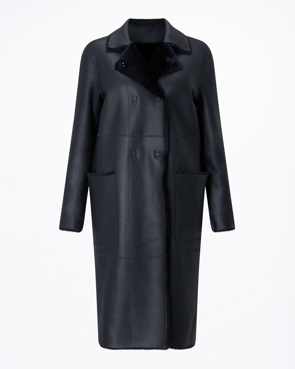 Sheepskin Coat - pattern: plain; collar: wide lapels; fit: loose; style: single breasted; length: calf length; predominant colour: black; occasions: casual, creative work; fibres: sheepskin - 100%; sleeve length: long sleeve; sleeve style: standard; collar break: medium; pattern type: fabric; texture group: sheepskin; season: a/w 2016; wardrobe: highlight