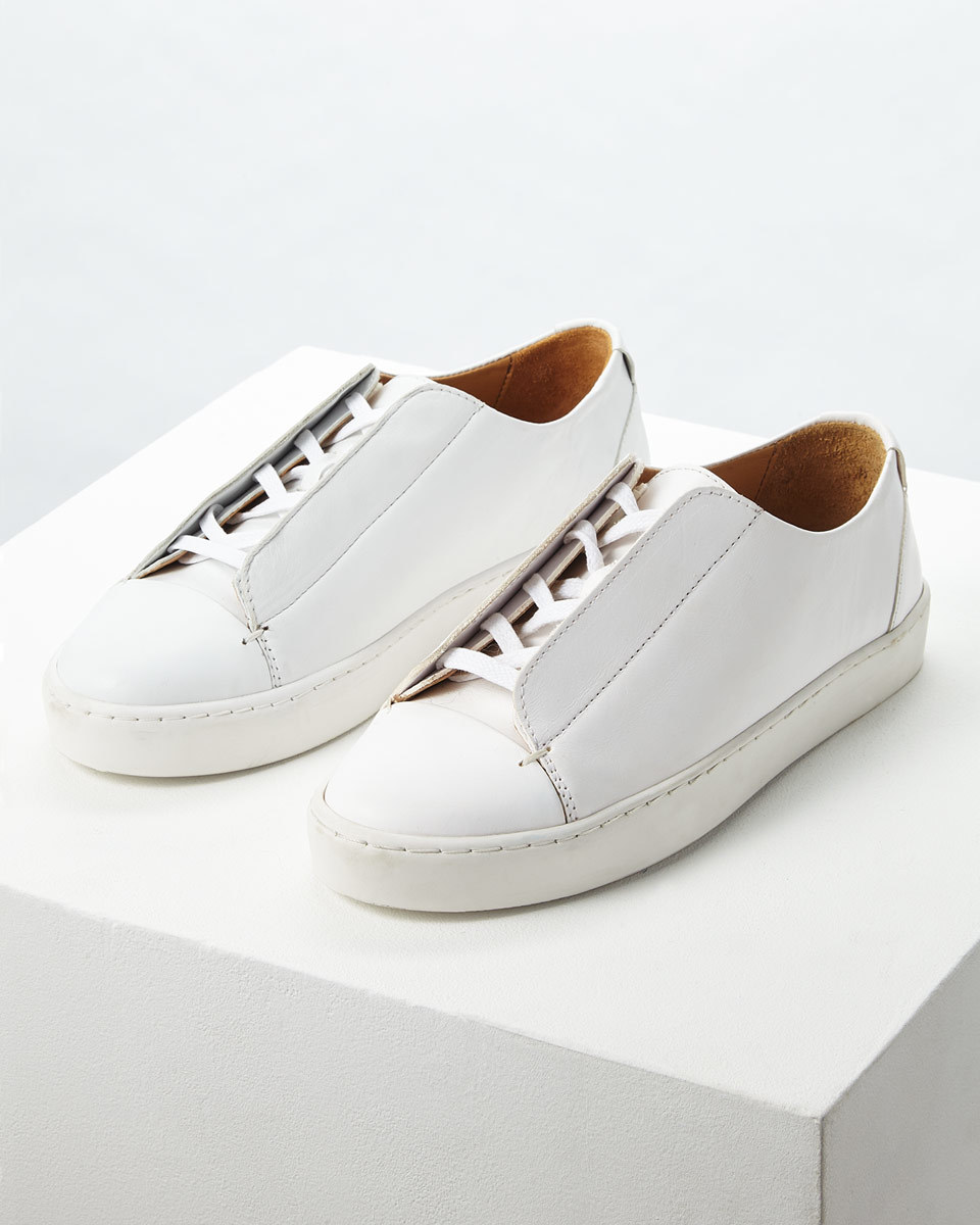 Zanna Leather Trainer - predominant colour: white; occasions: casual; material: leather; heel height: flat; toe: round toe; style: trainers; finish: plain; pattern: plain; wardrobe: basic; season: a/w 2016