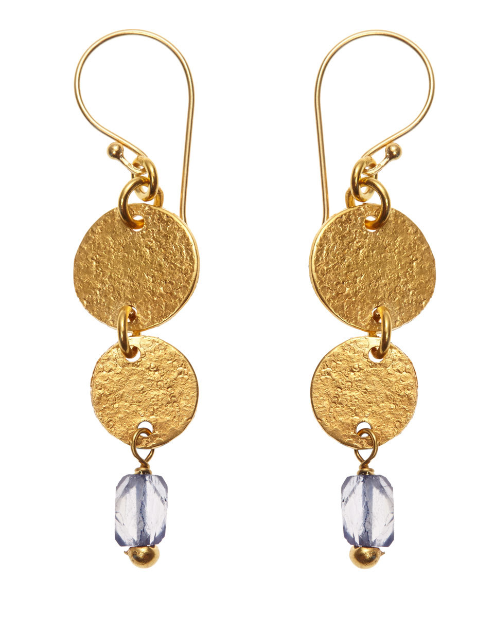 Mirabelle Circle Stone Earrings - predominant colour: gold; occasions: evening, occasion; style: drop; length: long; size: standard; material: chain/metal; fastening: pierced; finish: metallic; embellishment: chain/metal; season: a/w 2016