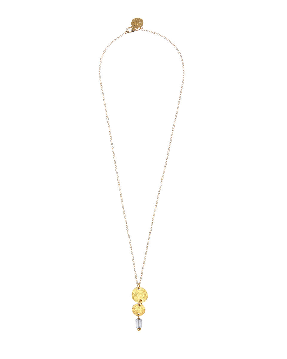 Mirabelle Circle Stone Necklace - predominant colour: gold; occasions: evening; style: pendant; length: mid; size: small/fine; material: chain/metal; finish: metallic; embellishment: chain/metal; season: a/w 2016