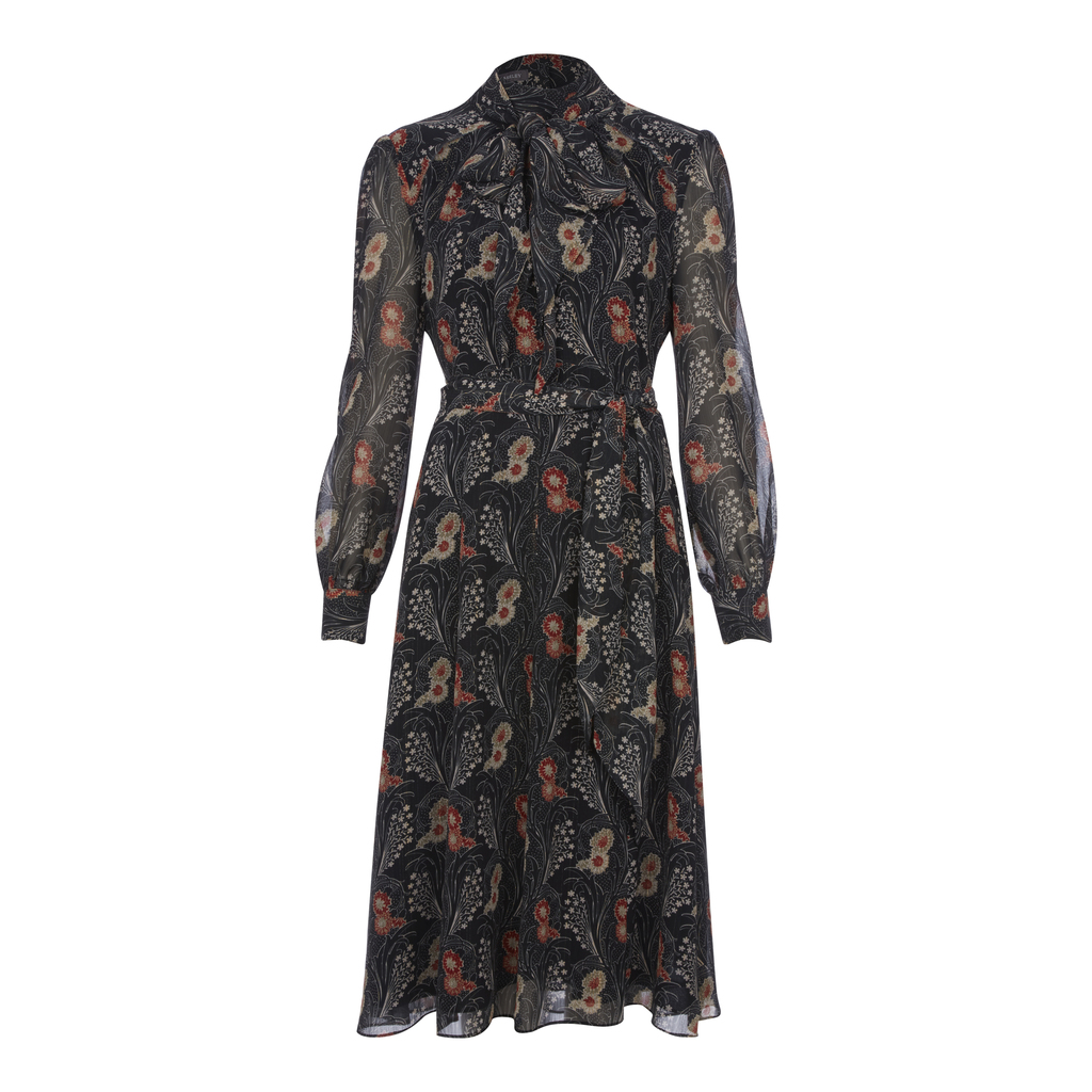 Tie Neck Nouveau Floral Midi Dress - style: tea dress; length: below the knee; neckline: pussy bow; sleeve style: balloon; waist detail: belted waist/tie at waist/drawstring; secondary colour: terracotta; predominant colour: black; fit: fitted at waist & bust; fibres: polyester/polyamide - 100%; hip detail: soft pleats at hip/draping at hip/flared at hip; sleeve length: long sleeve; texture group: sheer fabrics/chiffon/organza etc.; pattern type: fabric; pattern: patterned/print; occasions: creative work; multicoloured: multicoloured; season: a/w 2016; wardrobe: highlight