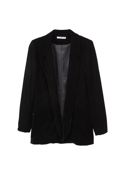 Velvet Blazer - pattern: plain; style: single breasted blazer; collar: standard lapel/rever collar; predominant colour: black; occasions: evening; length: standard; fit: straight cut (boxy); fibres: polyester/polyamide - 100%; sleeve length: long sleeve; sleeve style: standard; collar break: medium; pattern type: fabric; texture group: velvet/fabrics with pile; season: a/w 2016; wardrobe: event