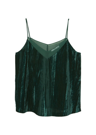 Velvet Top - neckline: low v-neck; sleeve style: spaghetti straps; pattern: plain; predominant colour: dark green; occasions: casual, evening; length: standard; style: top; fibres: polyester/polyamide - 100%; fit: straight cut; sleeve length: sleeveless; pattern type: fabric; texture group: velvet/fabrics with pile; season: a/w 2016; wardrobe: highlight; trends: velvet