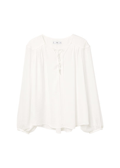 Braided Cord Blouse - neckline: round neck; pattern: plain; sleeve style: balloon; style: blouse; predominant colour: white; occasions: casual, work, creative work; length: standard; fibres: polyester/polyamide - 100%; fit: loose; sleeve length: long sleeve; pattern type: fabric; texture group: other - light to midweight; wardrobe: basic; season: a/w 2016