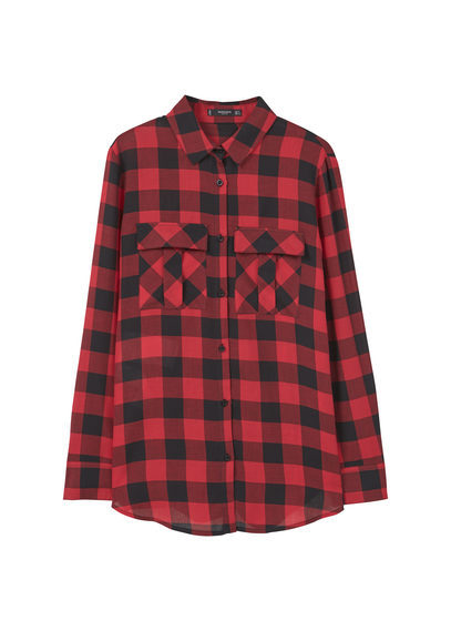 Printed Cotton Shirt - neckline: shirt collar/peter pan/zip with opening; pattern: checked/gingham; length: below the bottom; style: shirt; predominant colour: true red; secondary colour: black; occasions: casual; fibres: cotton - 100%; fit: loose; sleeve length: long sleeve; sleeve style: standard; pattern type: fabric; pattern size: standard; texture group: other - light to midweight; multicoloured: multicoloured; season: a/w 2016; wardrobe: highlight