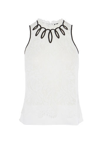 Ivory Lace Sleeveless Blouse - neckline: round neck; pattern: plain; sleeve style: sleeveless; style: blouse; predominant colour: white; secondary colour: black; occasions: work, creative work; length: standard; fibres: cotton - mix; fit: body skimming; sleeve length: sleeveless; pattern type: fabric; texture group: jersey - stretchy/drapey; embellishment: lace; season: a/w 2016; wardrobe: highlight