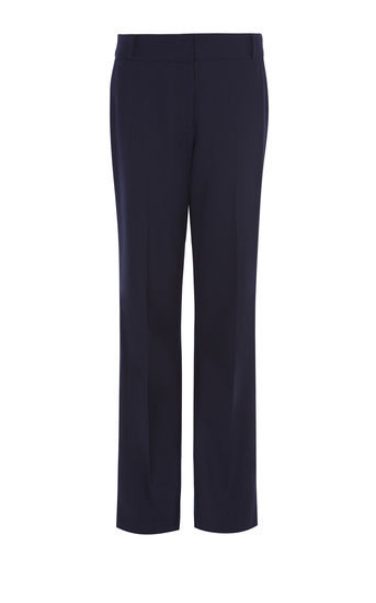 Kick Flare Trousers - length: standard; pattern: plain; waist: mid/regular rise; predominant colour: navy; occasions: work; fibres: polyester/polyamide - stretch; fit: flares; pattern type: fabric; texture group: woven light midweight; style: standard; wardrobe: basic; season: a/w 2016