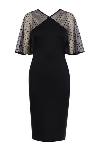 Black And Tulle Dress - style: shift; neckline: v-neck; sleeve style: angel/waterfall; fit: tailored/fitted; pattern: polka dot; hip detail: draws attention to hips; predominant colour: black; occasions: evening, occasion; length: just above the knee; fibres: polyester/polyamide - 100%; sleeve length: half sleeve; texture group: crepes; pattern type: fabric; pattern size: light/subtle; shoulder detail: sheer at shoulder; season: a/w 2016; wardrobe: event
