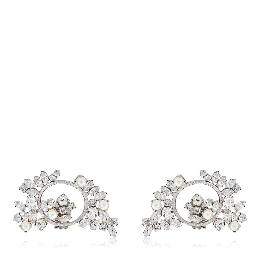 Adelle Crystal Mix Metal With Crystals And Pearls Shoe Clips - predominant colour: silver; occasions: evening, occasion; style: stud; length: short; size: small/fine; material: chain/metal; fastening: pierced; finish: plain; embellishment: crystals/glass; season: a/w 2016; wardrobe: event