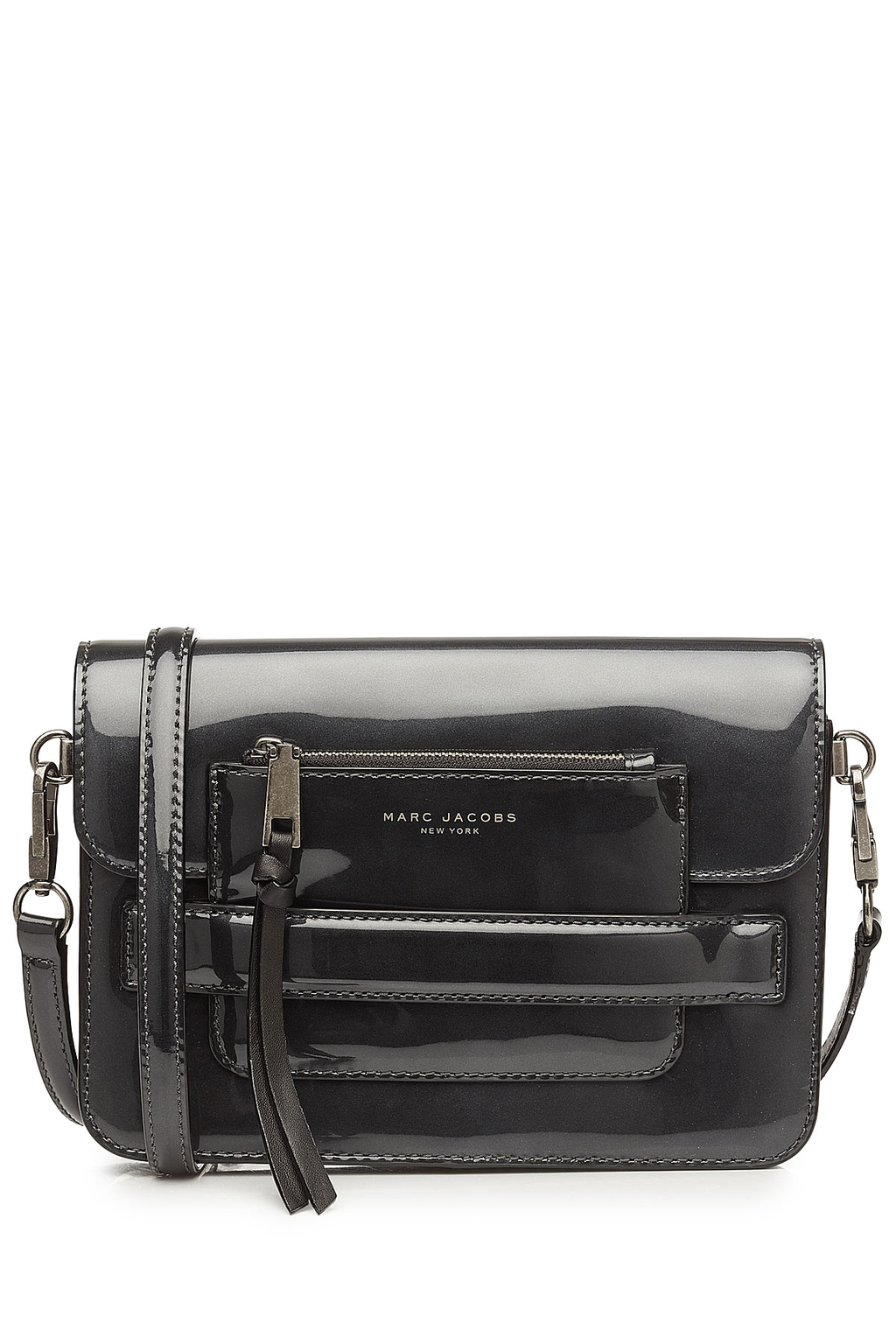 Madison Patent Leather Shoulder Bag Silver - predominant colour: black; occasions: casual, creative work; type of pattern: standard; style: shoulder; length: across body/long; size: standard; material: leather; pattern: plain; finish: patent; wardrobe: investment; season: a/w 2016