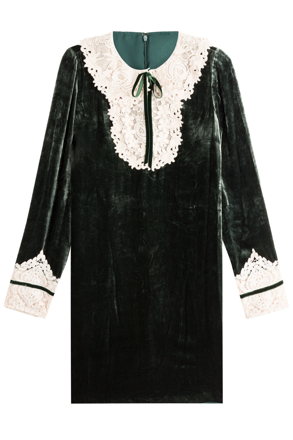 Velvet Dress With Lace Green - style: smock; fit: loose; pattern: plain; neckline: pussy bow; secondary colour: ivory/cream; predominant colour: dark green; occasions: evening; length: just above the knee; sleeve length: long sleeve; sleeve style: standard; pattern type: fabric; texture group: velvet/fabrics with pile; fibres: viscose/rayon - mix; embellishment: lace; season: a/w 2016; wardrobe: event