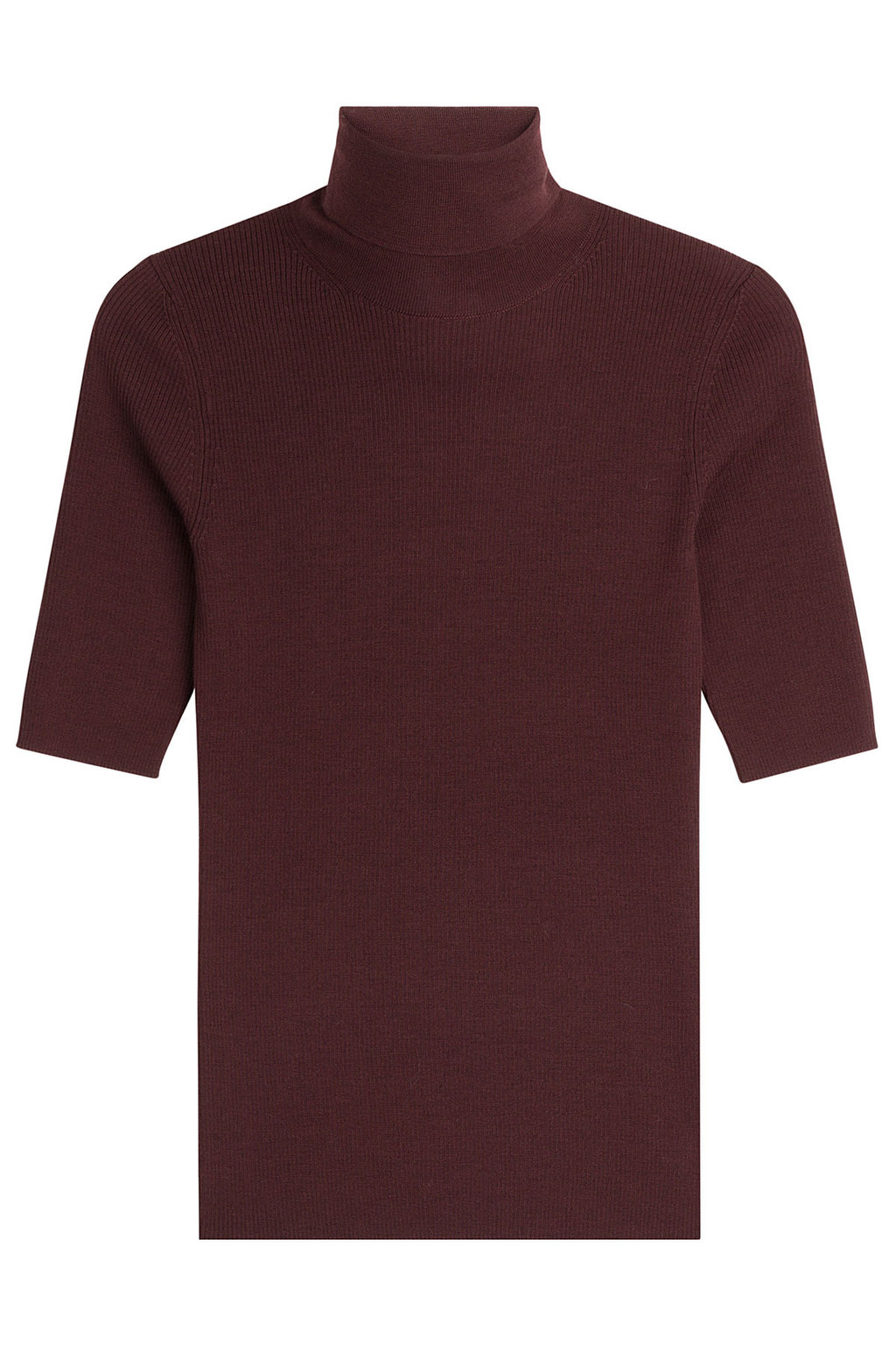 Merino Wool Turtleneck With Short Sleeves Red - pattern: plain; neckline: roll neck; predominant colour: aubergine; occasions: casual; length: standard; style: top; fibres: wool - 100%; fit: body skimming; sleeve length: short sleeve; sleeve style: standard; texture group: knits/crochet; pattern type: knitted - fine stitch; season: a/w 2016