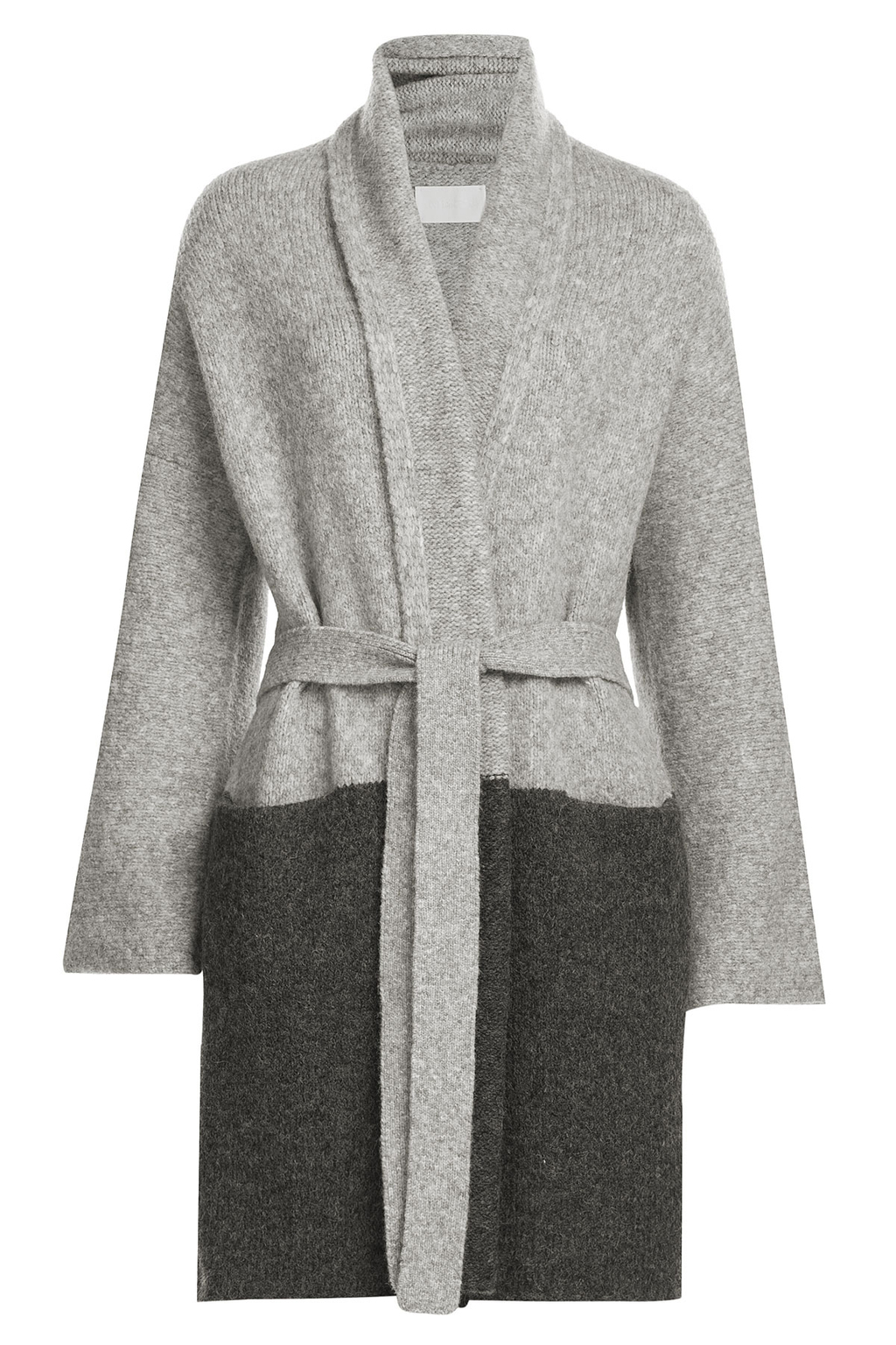 Two Tone Cardigan With Baby Alpaca And Wool Grey - neckline: shawl; style: belted; length: on the knee; secondary colour: charcoal; predominant colour: mid grey; occasions: casual, creative work; fibres: wool - mix; fit: loose; waist detail: belted waist/tie at waist/drawstring; sleeve length: long sleeve; sleeve style: standard; texture group: knits/crochet; pattern type: knitted - other; pattern size: standard; pattern: colourblock; season: a/w 2016; wardrobe: highlight