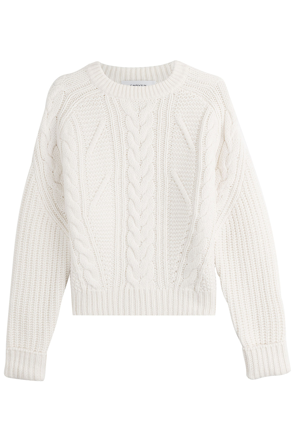Wool Pullover - style: standard; pattern: cable knit; predominant colour: ivory/cream; occasions: casual, creative work; length: standard; fibres: wool - mix; fit: standard fit; neckline: crew; sleeve length: long sleeve; sleeve style: standard; texture group: knits/crochet; pattern type: knitted - big stitch; pattern size: standard; season: a/w 2016; wardrobe: highlight