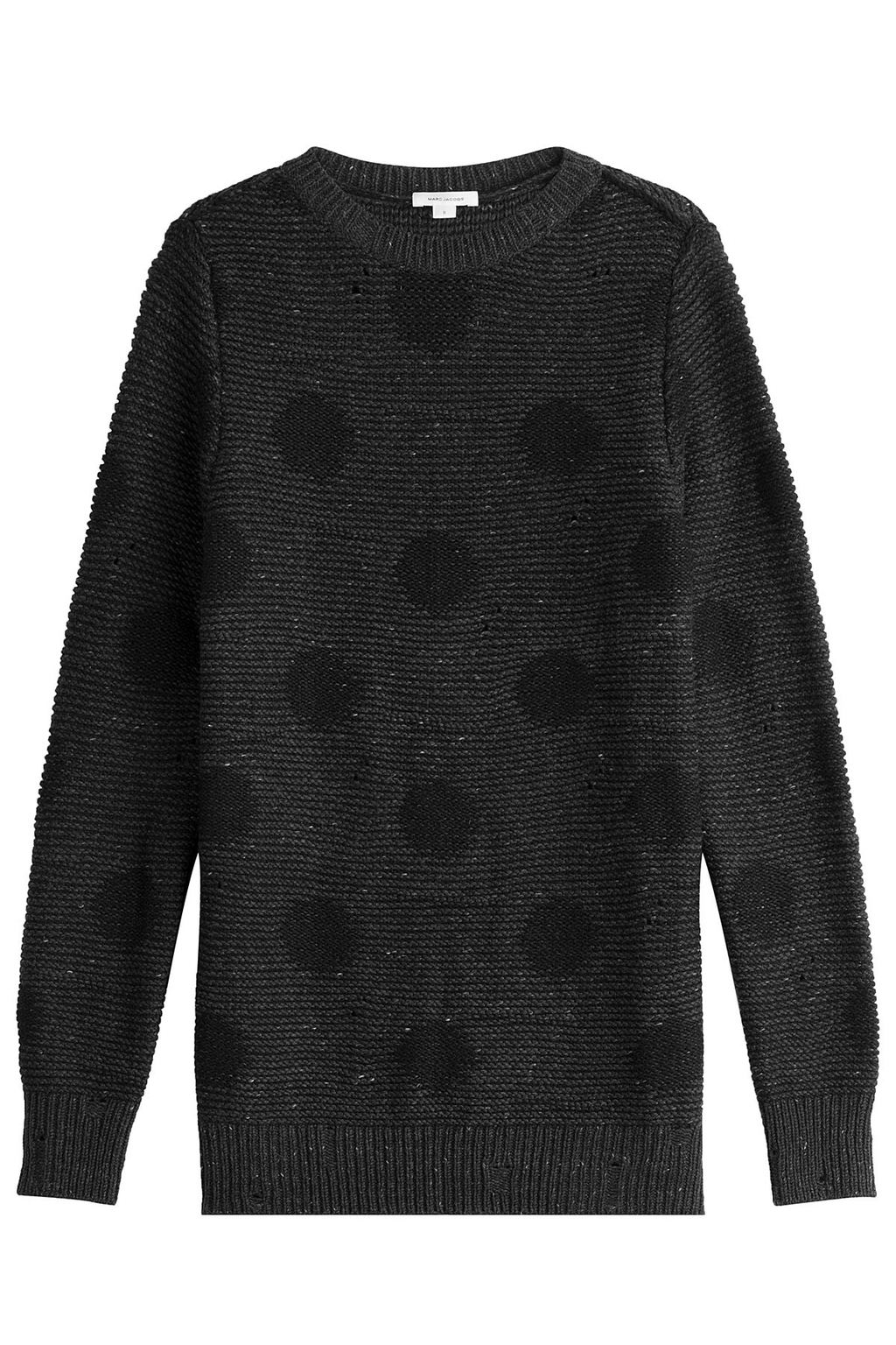 Oversize Printed Wool Pullover - length: below the bottom; pattern: polka dot; style: standard; predominant colour: charcoal; secondary colour: black; occasions: casual, creative work; fibres: wool - mix; fit: loose; neckline: crew; sleeve length: long sleeve; sleeve style: standard; texture group: knits/crochet; pattern type: knitted - other; pattern size: standard; season: a/w 2016; wardrobe: highlight