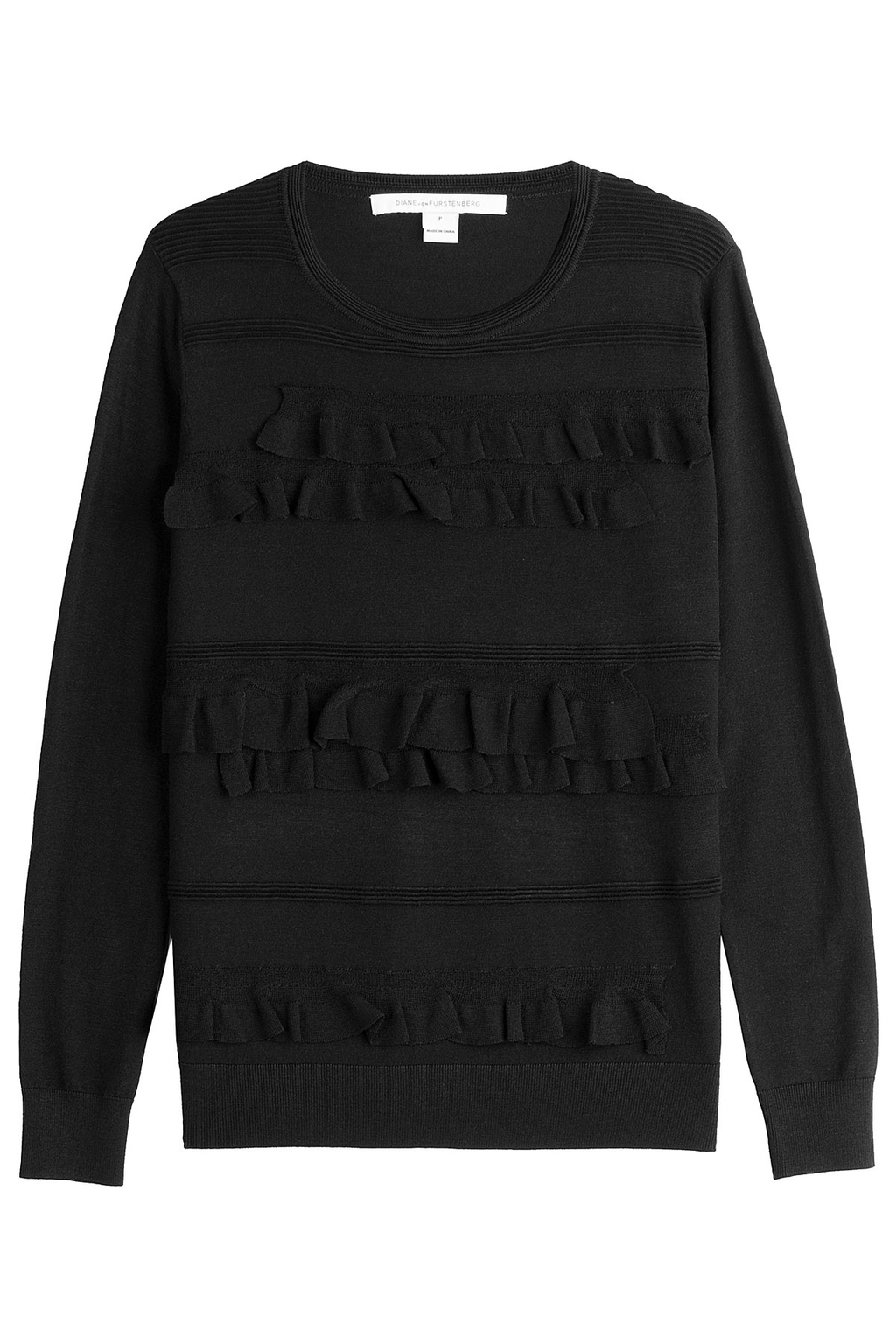 Knit Pullover With Ruffles Black - neckline: round neck; pattern: plain; style: standard; predominant colour: black; occasions: casual, creative work; length: standard; fibres: wool - stretch; fit: standard fit; sleeve length: long sleeve; sleeve style: standard; texture group: knits/crochet; pattern type: knitted - fine stitch; wardrobe: basic; season: a/w 2016