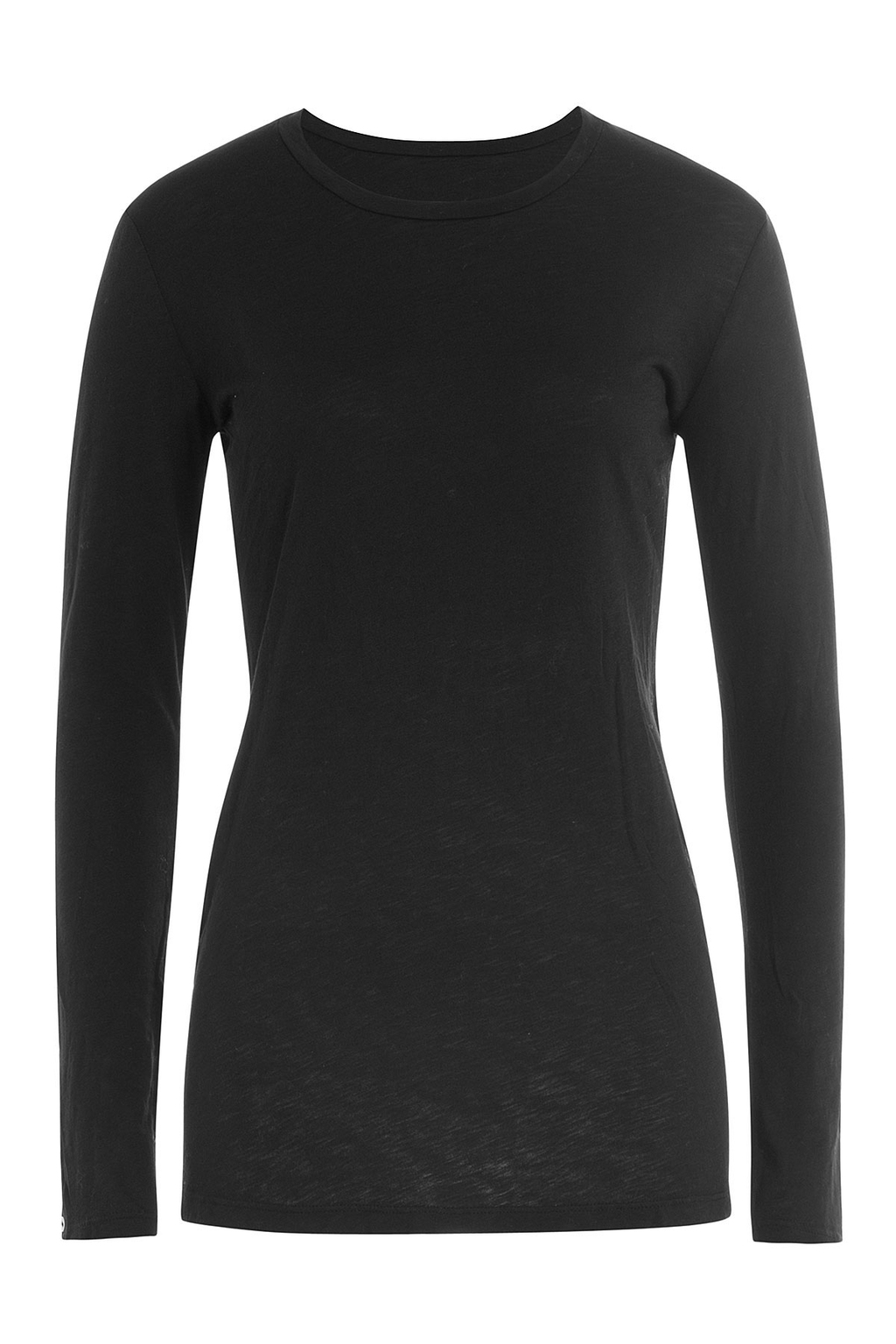 Long Sleeved Cotton Top Black - neckline: round neck; pattern: plain; length: below the bottom; predominant colour: black; occasions: casual, work, creative work; style: top; fibres: cotton - 100%; fit: tight; sleeve length: long sleeve; sleeve style: standard; pattern type: fabric; texture group: jersey - stretchy/drapey; wardrobe: basic; season: a/w 2016