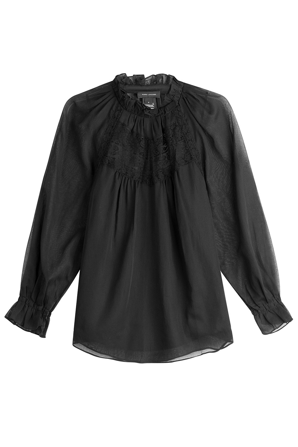 Cotton Blouse With Lace - pattern: plain; neckline: high neck; style: blouse; predominant colour: black; occasions: evening; length: standard; fibres: cotton - 100%; fit: body skimming; sleeve length: long sleeve; sleeve style: standard; texture group: cotton feel fabrics; pattern type: fabric; embellishment: lace; season: a/w 2016; wardrobe: event