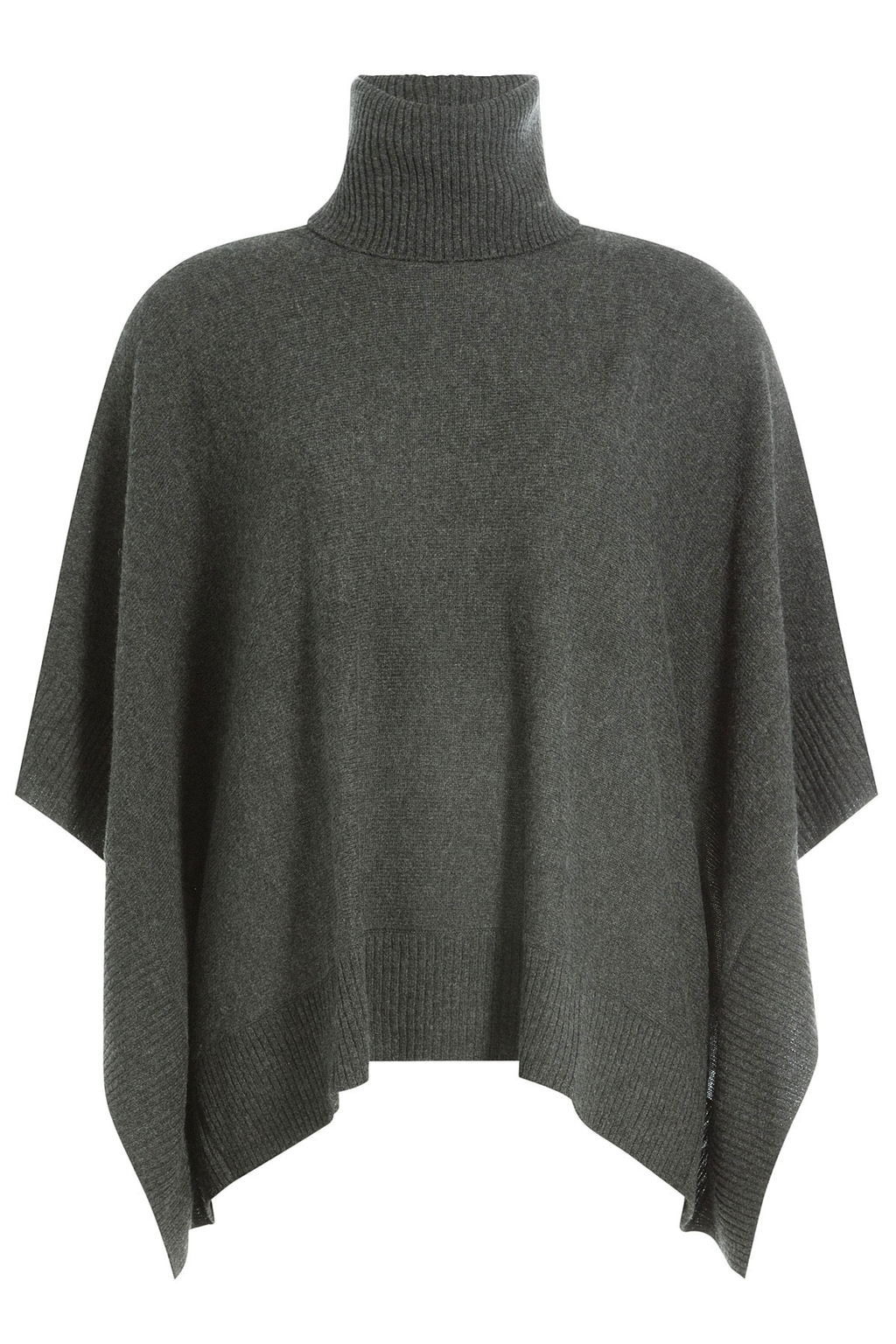 Cashmere Cape With Turtleneck - pattern: plain; length: standard; fit: loose; style: poncho/blanket; collar: high neck; predominant colour: charcoal; occasions: casual; fibres: cashmere - 100%; sleeve length: half sleeve; texture group: knits/crochet; collar break: high; pattern type: fabric; sleeve style: cape/poncho sleeve; season: a/w 2016; wardrobe: highlight