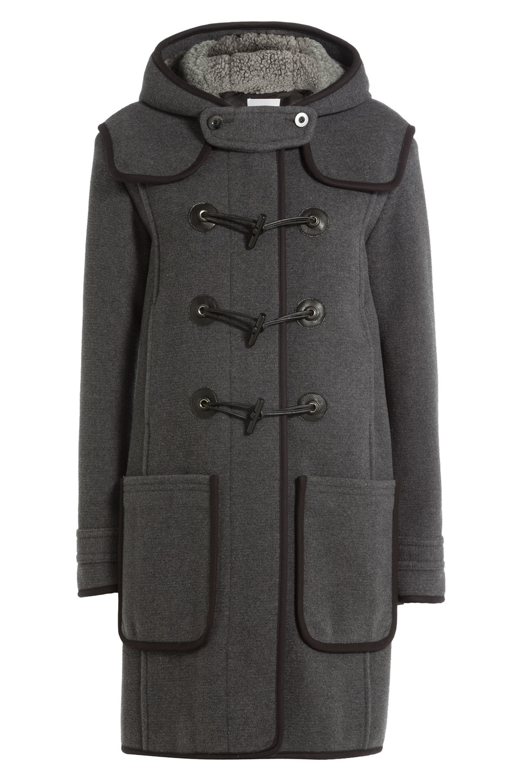 Wool Duffle Coat Grey - pattern: plain; collar: funnel; fit: loose; back detail: hood; length: on the knee; style: duffle coat; predominant colour: charcoal; occasions: casual, creative work; fibres: wool - 100%; sleeve length: long sleeve; sleeve style: standard; collar break: high; pattern type: fabric; texture group: woven bulky/heavy; hip detail: front pockets at hip; wardrobe: basic; season: a/w 2016
