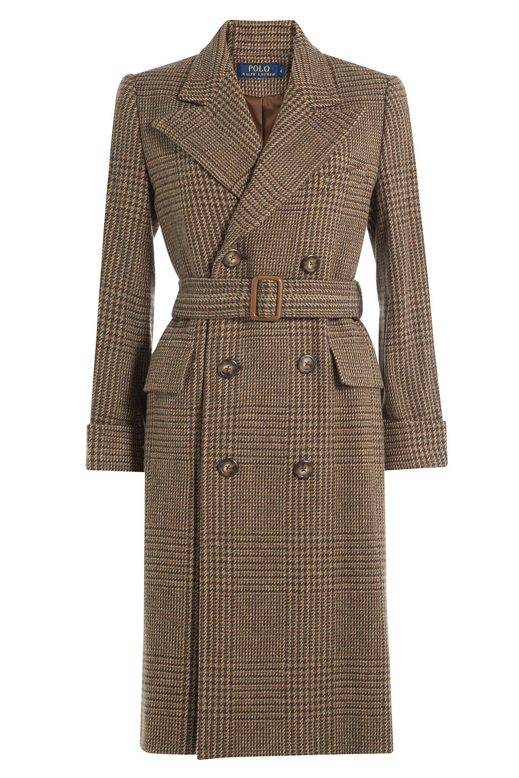 Wool Alpaca Belted Coat Multicolored - pattern: checked/gingham; collar: wide lapels; style: double breasted; predominant colour: chocolate brown; occasions: work; fit: tailored/fitted; fibres: wool - 100%; length: below the knee; waist detail: belted waist/tie at waist/drawstring; sleeve length: long sleeve; sleeve style: standard; collar break: medium; pattern type: fabric; pattern size: light/subtle; texture group: woven bulky/heavy; season: a/w 2016; wardrobe: highlight