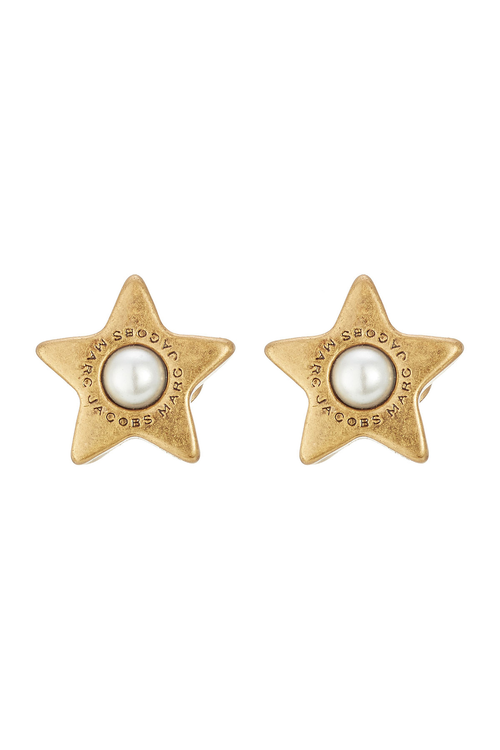 Star Earrings With Faux Pearls - secondary colour: ivory/cream; predominant colour: gold; occasions: evening; style: stud; length: short; size: standard; material: chain/metal; fastening: pierced; finish: metallic; embellishment: pearls; season: a/w 2016; wardrobe: event
