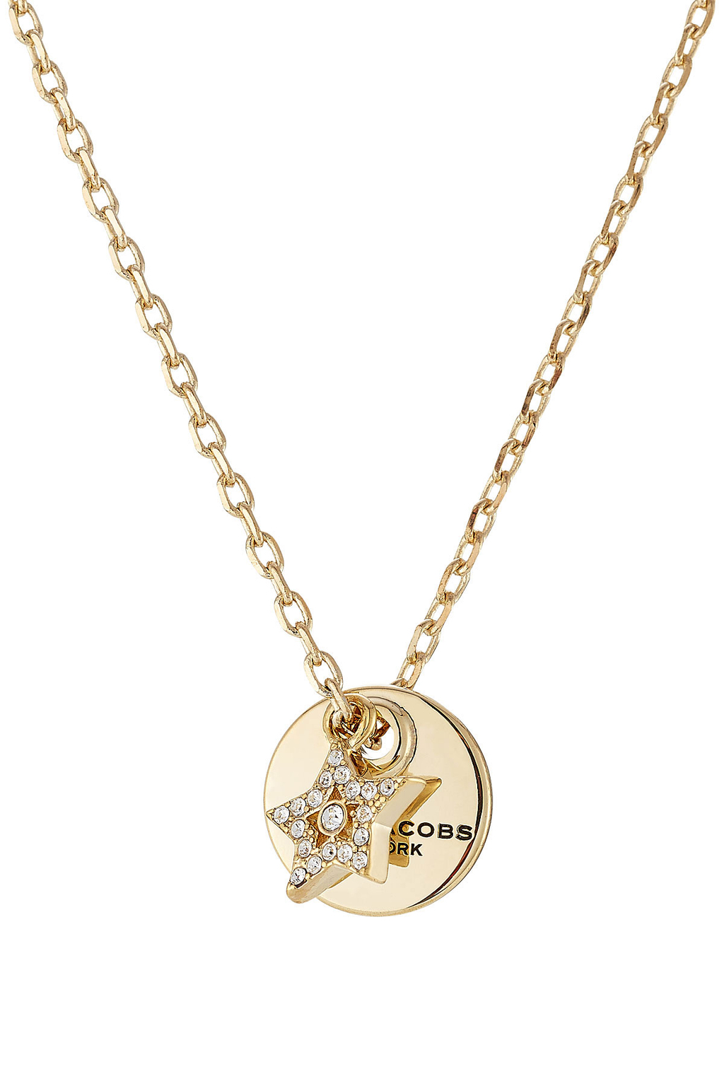 Mj Coin Embellished Necklace - predominant colour: gold; occasions: evening; style: pendant; length: mid; size: standard; material: chain/metal; finish: metallic; embellishment: crystals/glass; season: a/w 2016; wardrobe: event