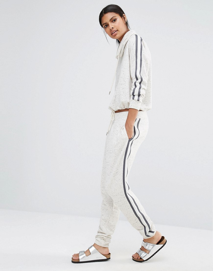 Minna Joggers Light Grey - length: standard; pattern: vertical stripes; style: tracksuit pants; waist: low rise; waist detail: belted waist/tie at waist/drawstring; secondary colour: charcoal; predominant colour: light grey; fibres: polyester/polyamide - stretch; fit: tapered; pattern type: fabric; texture group: jersey - stretchy/drapey; occasions: activity; pattern size: light/subtle (bottom); season: a/w 2016