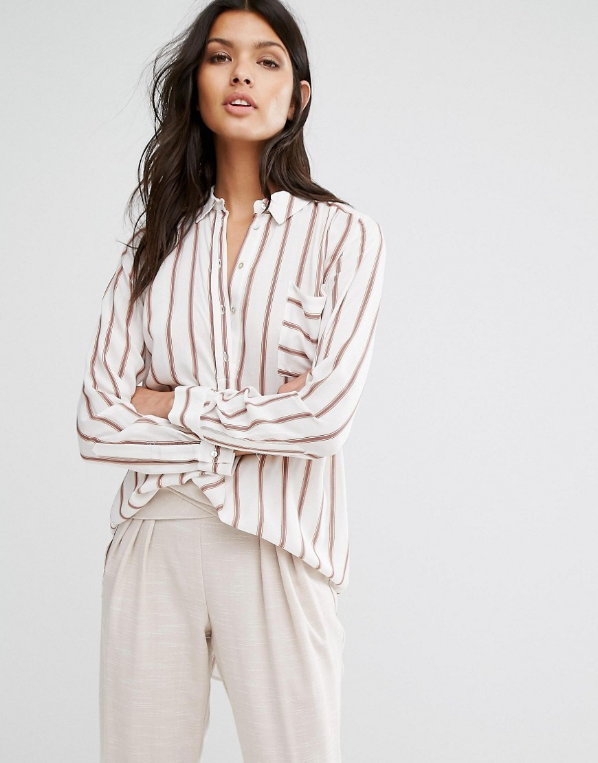 Jola Stripe Shirt White & Rose - neckline: shirt collar/peter pan/zip with opening; pattern: vertical stripes; style: shirt; predominant colour: white; occasions: casual, creative work; length: standard; fibres: viscose/rayon - 100%; fit: loose; sleeve length: long sleeve; sleeve style: standard; pattern type: fabric; texture group: other - light to midweight; pattern size: big & busy (top); season: a/w 2016; wardrobe: highlight