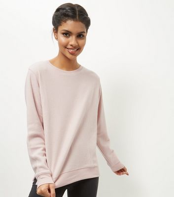 Shell Pink Brushed Sweater - pattern: plain; length: below the bottom; style: standard; predominant colour: blush; occasions: casual, creative work; fibres: polyester/polyamide - mix; fit: loose; neckline: crew; sleeve length: long sleeve; sleeve style: standard; texture group: knits/crochet; pattern type: knitted - fine stitch; wardrobe: basic; season: a/w 2016