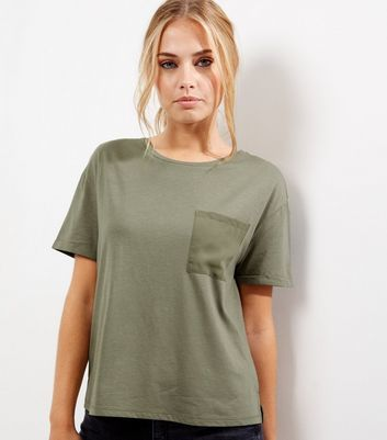 Olive Green Chiffon Back Pocket Front T Shirt - pattern: plain; style: t-shirt; predominant colour: khaki; occasions: casual; length: standard; fibres: cotton - mix; fit: body skimming; neckline: crew; sleeve length: short sleeve; sleeve style: standard; texture group: sheer fabrics/chiffon/organza etc.; pattern type: fabric; season: a/w 2016