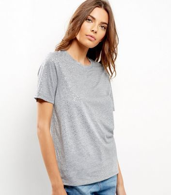 Grey Glitter Star Print T Shirt - pattern: plain; style: t-shirt; predominant colour: light grey; occasions: casual; length: standard; fibres: polyester/polyamide - mix; fit: loose; neckline: crew; sleeve length: short sleeve; sleeve style: standard; pattern type: fabric; texture group: jersey - stretchy/drapey; wardrobe: basic; season: a/w 2016