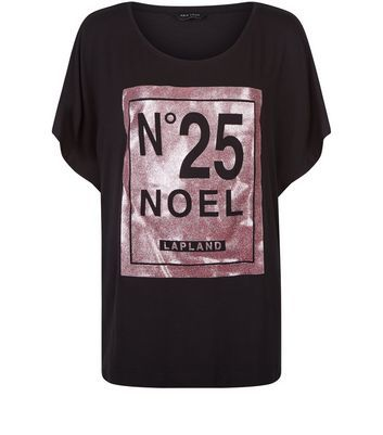 Black Christmas Noel Foil Print Cocoon T Shirt - neckline: round neck; style: t-shirt; secondary colour: pink; predominant colour: black; occasions: casual; length: standard; fibres: cotton - 100%; fit: loose; sleeve length: short sleeve; sleeve style: standard; pattern type: fabric; texture group: jersey - stretchy/drapey; pattern: graphic/slogan; multicoloured: multicoloured; season: a/w 2016; wardrobe: highlight